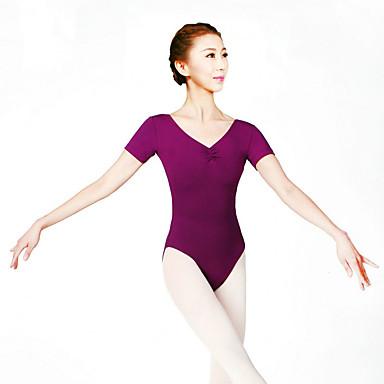 Ballet Leotards Women's Training Cotton Spandex Lace 1 Piece Short Sleeve High Leotard