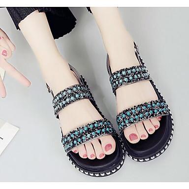 Women's Sandal Comfort Summer PU Casual Black Silver 2in-2 3/4in