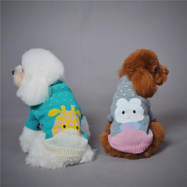 Dog Sweatshirt Dog Clothes Animal Gray Green Light Blue Woolen Down Costume For Pets Keep Warm