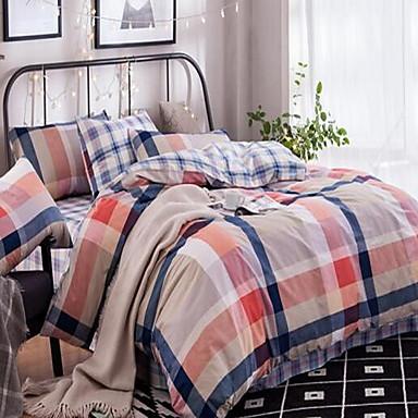 Solid Cotton Cotton 1pc Duvet Cover 2pcs Shams 1pc Flat Sheet