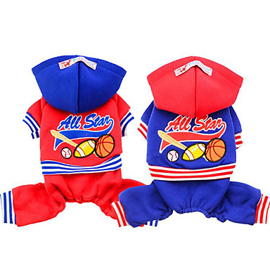 Dog Jumpsuit Dog Clothes Casual/Daily Letter & Number Red Blue Costume For Pets