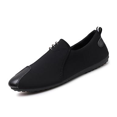 Miesten kengät Mokkanahka Kevät Syksy Comfort Mokkasiinit Kävely Niiteillä varten Kausaliteetti Musta Punainen