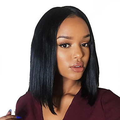 Remy Human Hair Glueless Full Lace / Full Lace Wig Straight / Yaki Wig 130% / 150% / 180% Natural Hairline / African American Wig / 100% Hand Tied Women's Short / Medium Length Human Hair Lace Wig