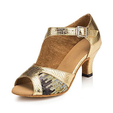 Women's Latin Silk Leatherette Sandal Sneaker Professional Buckle Stiletto Heel Gold Customizable