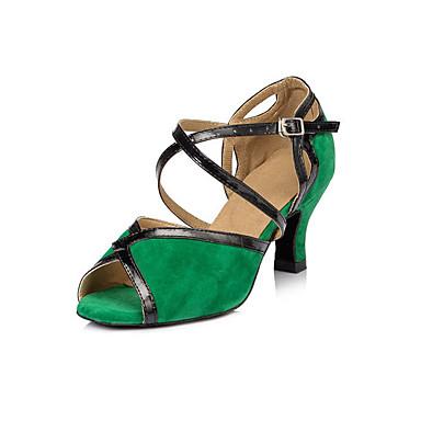 Women's Latin Shoes Faux Suede Heel Indoor Animal Print Chunky Heel Green 3 - 3 3/4inch 2 - 2 3/4inch Customizable