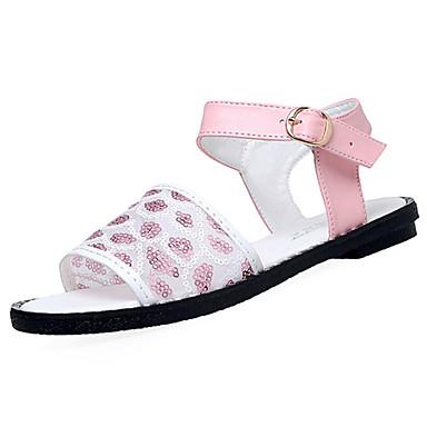 Mulheres Sapatos Couro Ecológico Verão Solados com Luzes Conforto Sandálias Sem Salto Dedo Aberto Presilha para Social Branco Preto Rosa
