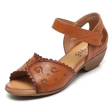 Naiset Sandaalit Comfort Kevät Nappanahka Nahka Kausaliteetti Keltainen Punainen Vihreä Tasapohja