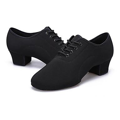 povoljno Dječje cipele za ples-Muškarci Platno Cipele za latino plesove Ravne cipele / Štikle / Potplat u dva dijela Moguće personalizirati Crn / Vježbanje / EU40