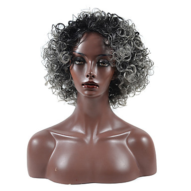 Synthetic Wig Curly Asymmetrical Haircut Synthetic Hair Natural Hairline Black Wig Women's Short / Medium Length Capless