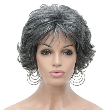 New Arrival Short Curly Gray Synthetic Hair Full wig Women's Thick Wig For Everyday