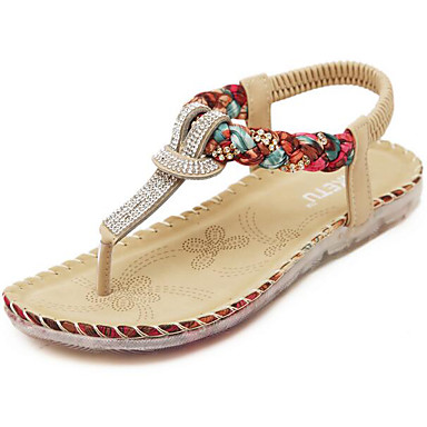 Naiset Kengät PU Kevät Comfort Sandaalit Käyttötarkoitus Kausaliteetti Musta Manteli