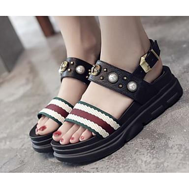 Women's Sandal Comfort Summer PU Casual White Black Flat