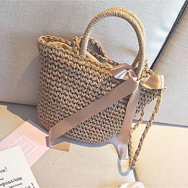 Women Bags All Seasons Straw Shoulder Bag for Casual khaki