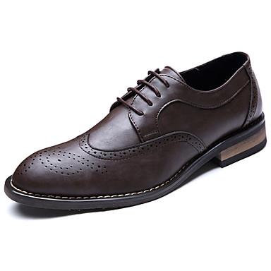 Homens sapatos Couro Ecológico Primavera Verão Sapatos formais Oxfords Cadarço para Escritório e Carreira Festas & Noite Preto Marron Cor