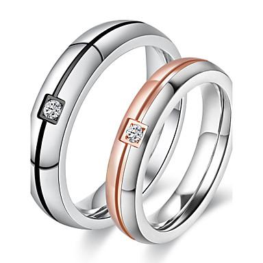 Casal Zircônia cúbica Rosa ouro Zircônia Cubica Anéis de Casal - Redonda Elegant Estilo simples titânio Ouro Rose Anel Para Casamento