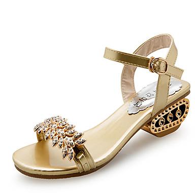 Mulheres Sapatos Couro Ecológico Verão Conforto Sandálias Caminhada Salto Plataforma Dedo Aberto Presilha para Casual Dourado Preto Prata