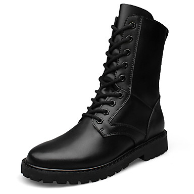 Men's Shoes Cowhide Leather Winter Combat Boots Motorcycle Boots Fashion Boots Snow Boots Boots Mid-Calf Boots Lace-up for Casual Office