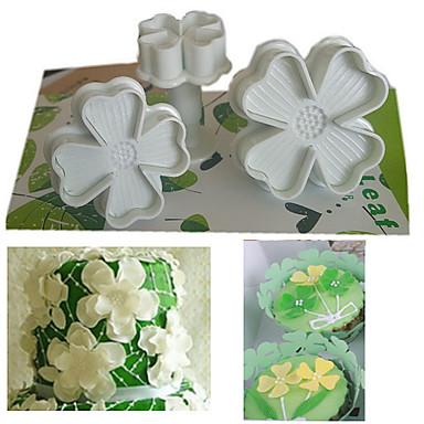 Set of 3pcs Four Leaf Clover Plunger Cutter Cake Decorating Fondant Embossing Tool