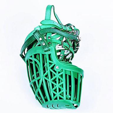 Cachorro Focinheiras Portátil anti Bark Segurança Sólido PU Leather Plástico Vermelho Verde