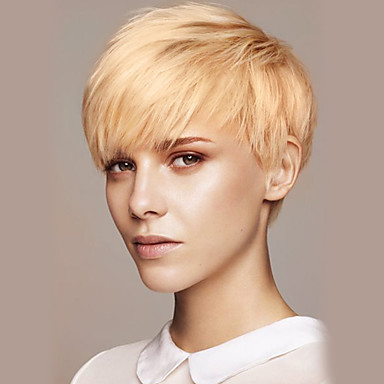 Human Hair Capless Wigs Human Hair Straight Pixie Cut / With Bangs Short Machine Made Wig Women's