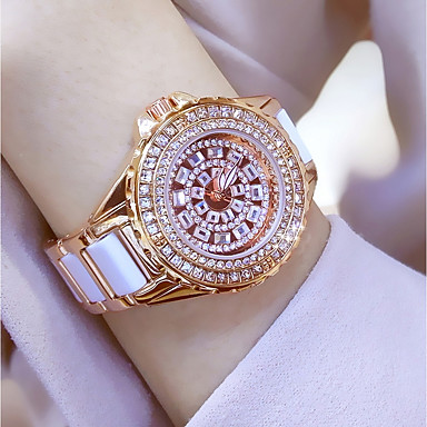 cheap Quartz Watches-Women's Ladies Luxury Watches Bracelet Watch Wrist Watch Quartz Stainless Steel Ceramic White / Gold 30 m Water Resistant / Waterproof Creative Imitation Diamond Analog Charm Luxury Sparkle Dot Casual