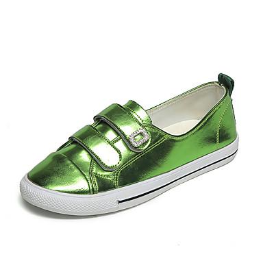 Dame Sko PU Høst Komfort formell Sko Flate sko Gange Flat hæl Spisstå Magisk teip til Avslappet Formell Gull Sølv Rød Grønn