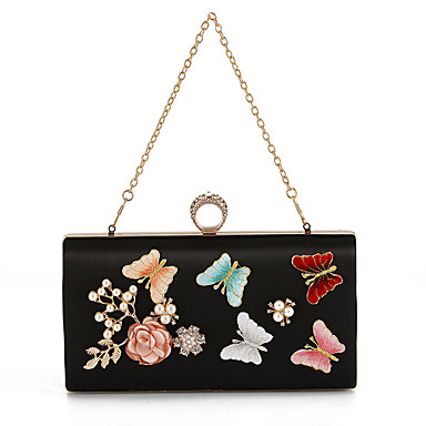 Women Bags Polyester Evening Bag Rhinestone Pearl Detailing Flower Pattern for Wedding Event/Party Casual Formal Office & Career All