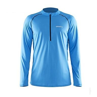 Herre T-skjorte til jogging Langermet Fitness, Løping & Yoga Genser Topper til Løper Trening & Fitness Svart Oransje Himmelblå