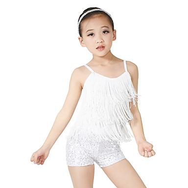 Tanzkleidung für Kinder Austattungen Damen Leistung Polyester / Elasthan / Pailletten Paillette / Quaste / Pailetten Ärmellos Normal Top / Unterhose / Kopfbedeckung / Latintanz