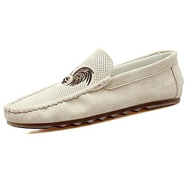 Miesten kengät PU Kevät Syksy Valopohjat Mokkasiinit Comfort Mokkasiinit Applikaatiot varten Kausaliteetti ulko- Beesi Harmaa Armeijan