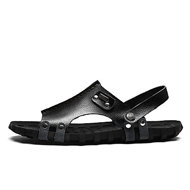 Men's Shoes Leather Summer Fall Comfort Gladiator Light Soles Sandals Walking Shoes Rivet Button Studded for Casual Black Dark Brown