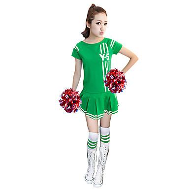 Cheerleader Costumes Dresses Women's Performance Polyester Pattern/Print 1 Piece Short Sleeve High Dresses