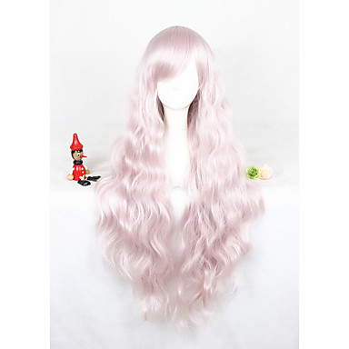Synthetic Wig Curly Pink Synthetic Hair Pink Wig Women's Long Capless