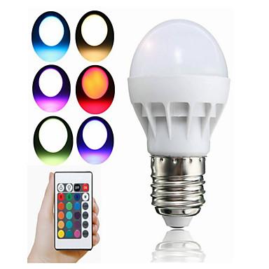 1pç 3 W 100 lm E26 / E27 Lâmpada de LED Inteligente 1 Contas LED LED Integrado Controle Remoto / Decorativa / Cores Gradiente RGB 85-265 V / 1 pç / RoHs
