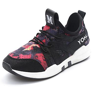 Mulheres Sapatos Couro Ecológico Primavera Outono Conforto Tênis para Ao ar livre Preto Cinzento