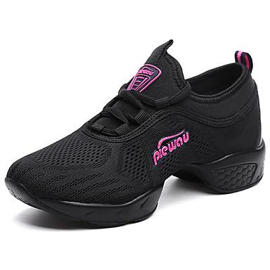 Women's Dance Sneakers Breathable Mesh Sneaker / Split Sole Cuban Heel Dance Shoes White / Black / Fuchsia