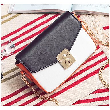 Women Shoulder Bag PU All Seasons Casual Outdoor Square Clasp Lock White Black Red