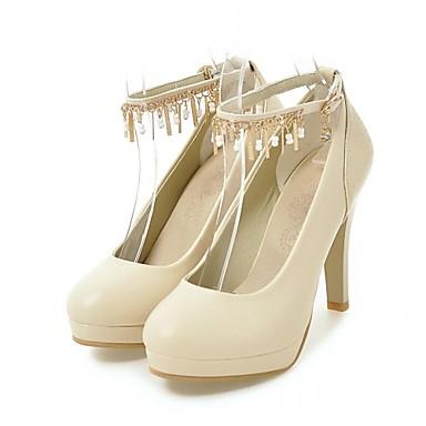 Mulheres Sapatos Couro Ecológico Primavera / Outono Conforto / Inovador Saltos Caminhada Salto Agulha Ponta Redonda Presilha / Poa Bege /