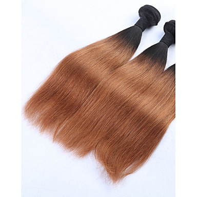 3 Bundles Brazilian Hair Straight Human Hair Ombre Hair Weaves / Hair Bulk Ombre Human Hair Weaves Human Hair Extensions