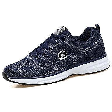 Homens sapatos Tule Primavera Outono Conforto Tênis Caminhada Cadarço para Casual Preto Azul Escuro Cinzento