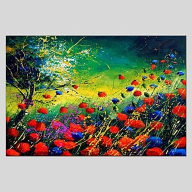 Hang-Painted öljymaalaus Maalattu - Kukkakuvio / Kasvitiede Abstrakti Kangas