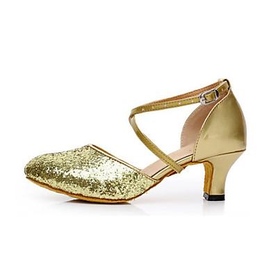 Mulheres Sapatos de Dança Moderna Gliter Sandália Lantejoula Salto Cubano Personalizável Sapatos de Dança Preto / Prata / Vermelho