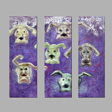 Hang-Painted öljymaalaus Maalattu - Eläimet Abstrakti Kangas 3 paneeli