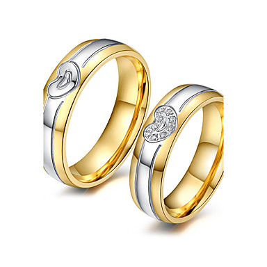 Couple's AAA Cubic Zirconia Couple Rings - 18K Gold Plated, Cubic Zirconia Fashion, Elegant 5 / 6 / 7 Gold For Wedding / Anniversary / Party Evening / Engagement / Daily