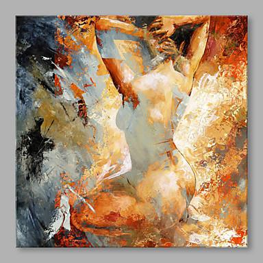 billige Trykk-Hang malte oljemaleri Håndmalte - Mennesker Klassisk Inkluder indre ramme / Stretched Canvas