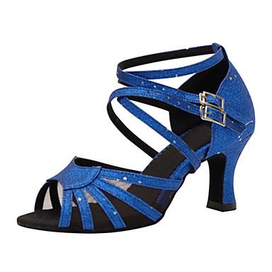 Mulheres Sapatos de Dança Latina Seda / Courino Sandália / Têni Presilha Salto Agulha Personalizável Sapatos de Dança Azul / Couro