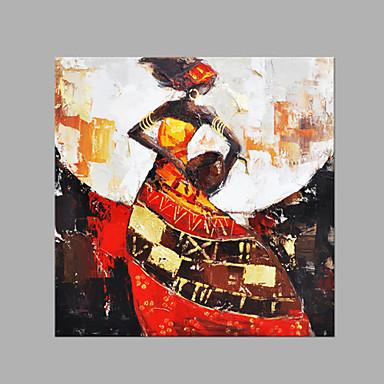 Pintados à mão Pessoas Quadrada, Abstracto Tela de pintura Pintura a Óleo Decoração para casa 1 Painel