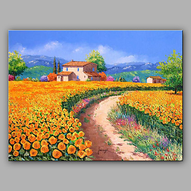 Hand-Painted Landscape Horizontal, Mediterranean Canvas Oil Painting Home Decoration One Panel
