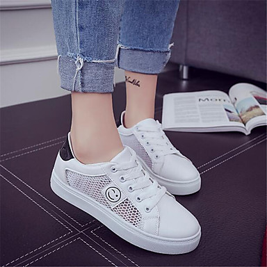 Women's Sandals Comfort Spring Breathable Mesh PU Casual White Flat
