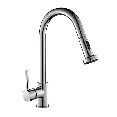Kitchen faucet - Art Deco / Retro / Modern / Contemporary / Fashion Chrome Standard Spout Centerset / Brass